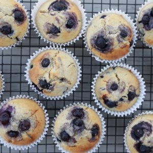 This is a close look at a batch of almond flour blueberry muffins on a cooling rack.