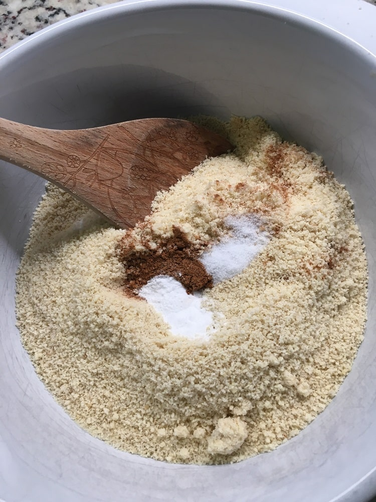 The dry ingredients are mixed in a large bowl.