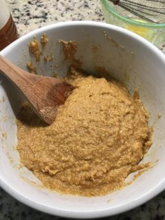 The wet and dry ingredients are then mixed in one bowl.