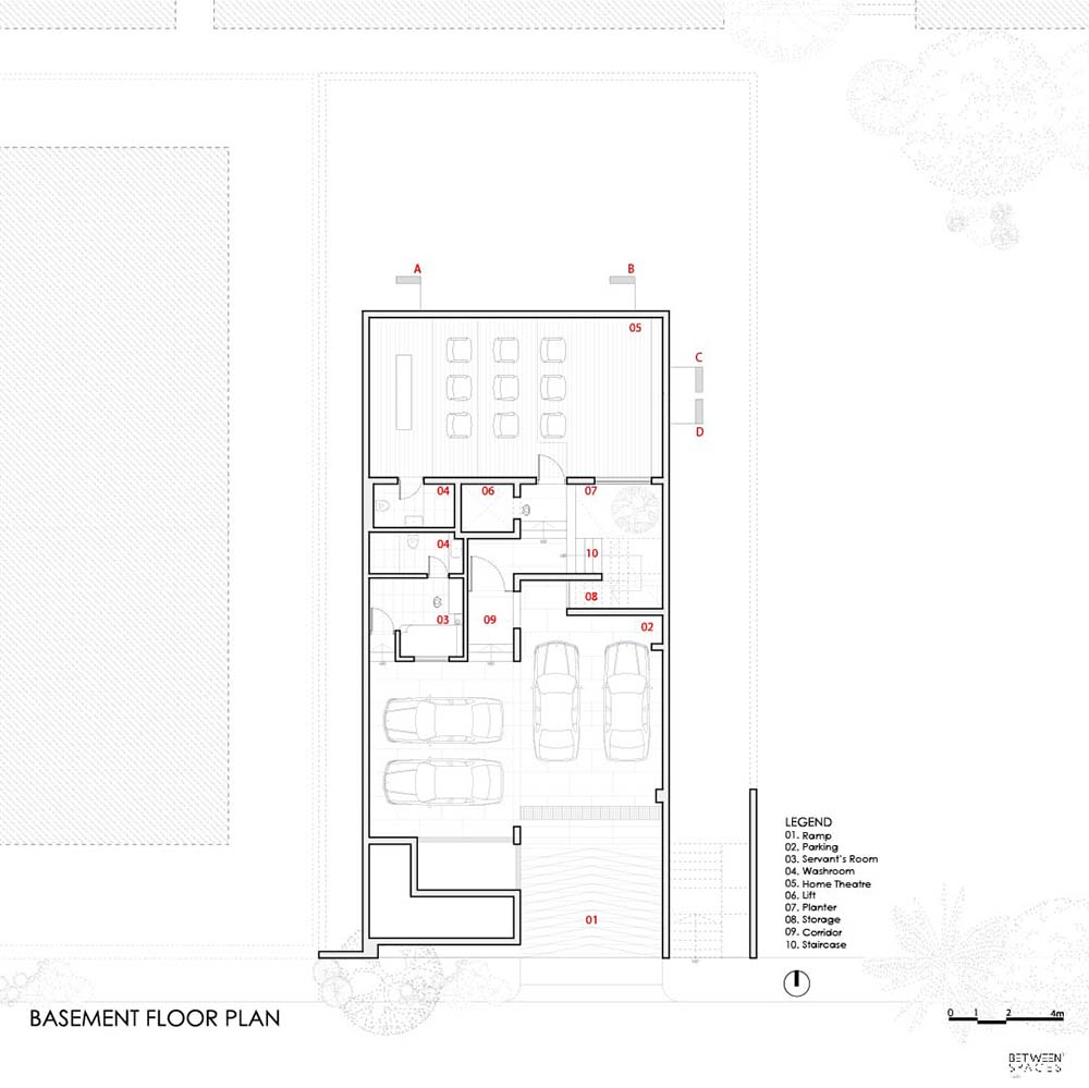 This is the illustration of the house's basement level floor plan.