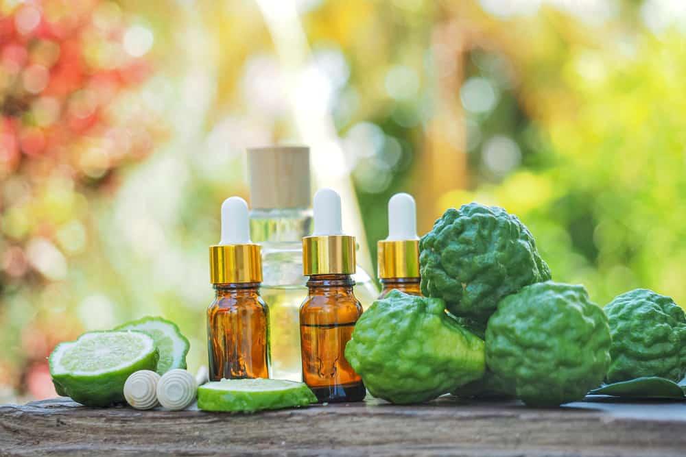Bergamot essential oils with citrus fruits