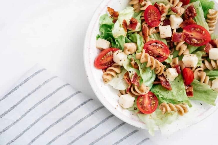 This is a close look at a fresh plate of BLT pasta salad.