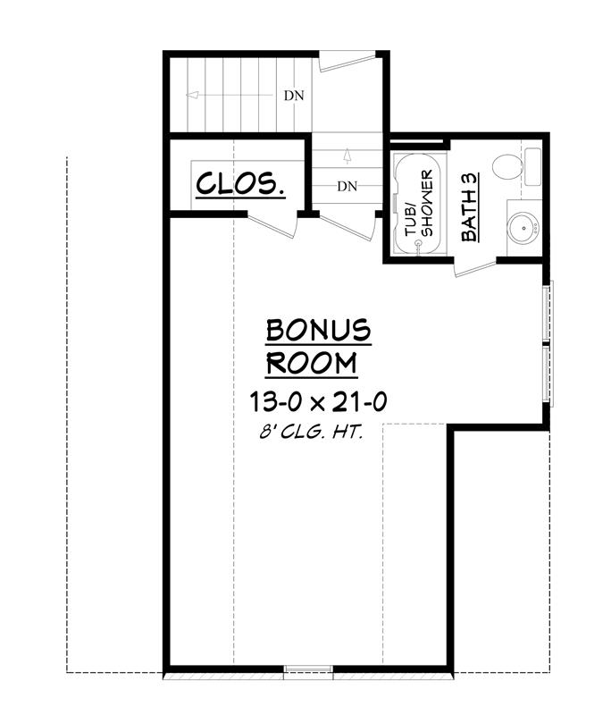 Bonus level floor plan with a full bath and a walk-in closet.