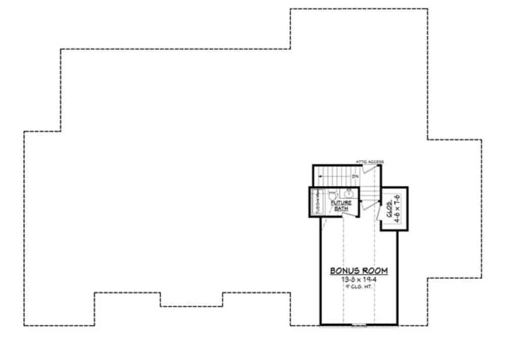 Bonus room floor plan with a walk-in closet and a full bathroom.