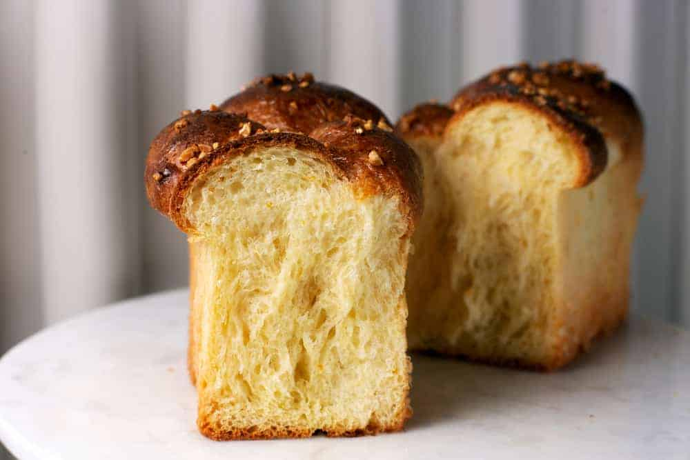This is a close look at a couple of butter brioche loaves.