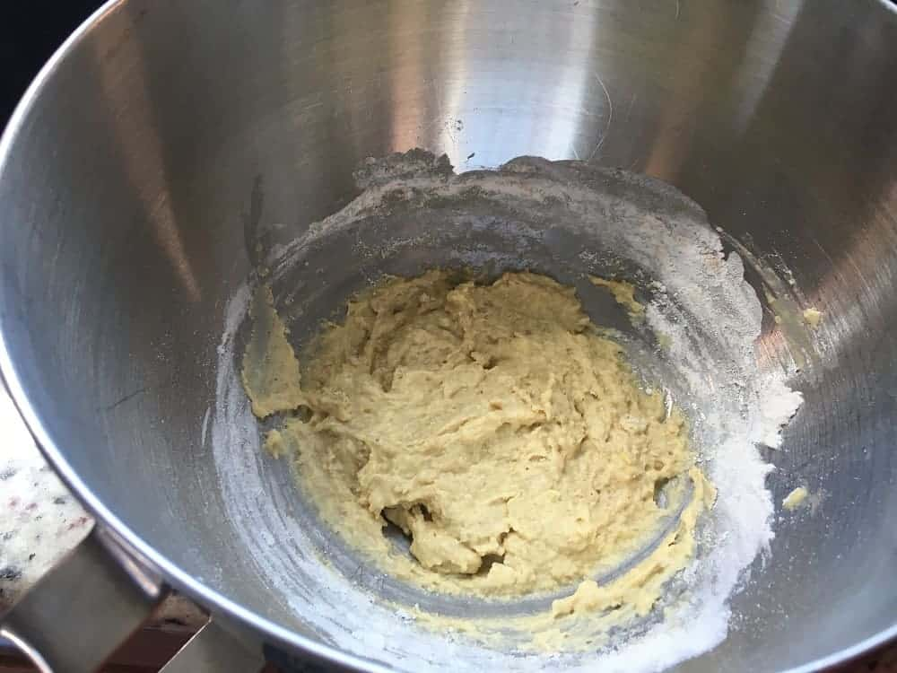 The sponge batter is mixed in a bowl.