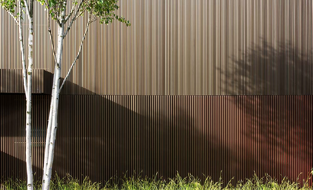 This is a close look at the exterior wall of the house with a unique wooden slats design that pairs well with the surrounding landscape.