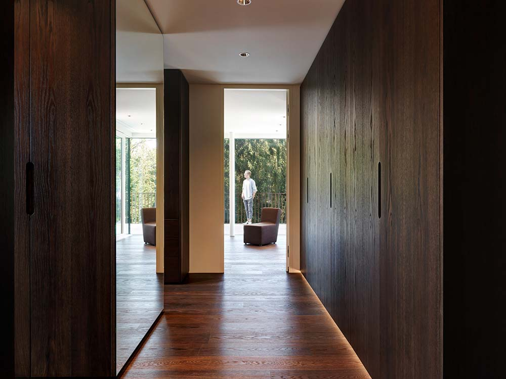 This is a close look at a hallway within the house with dark wooden built-in cabinets on the side and glass walls on the other.