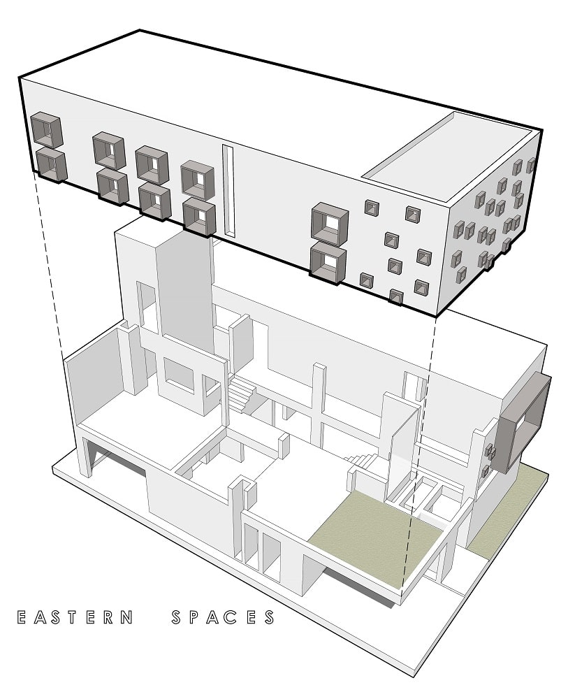 This is an illustration of the house's eastern spaces isolated.