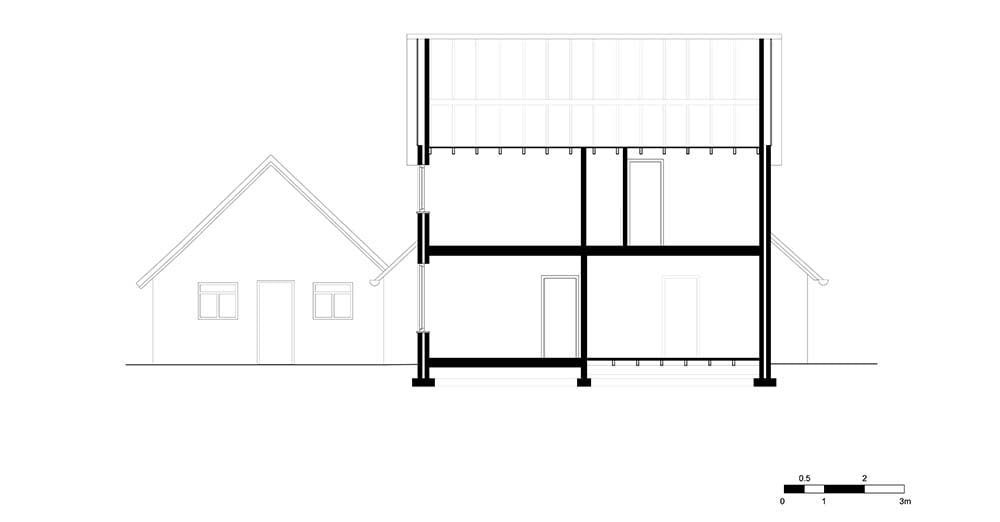 This is an illustration of the house's elevation and cross section.