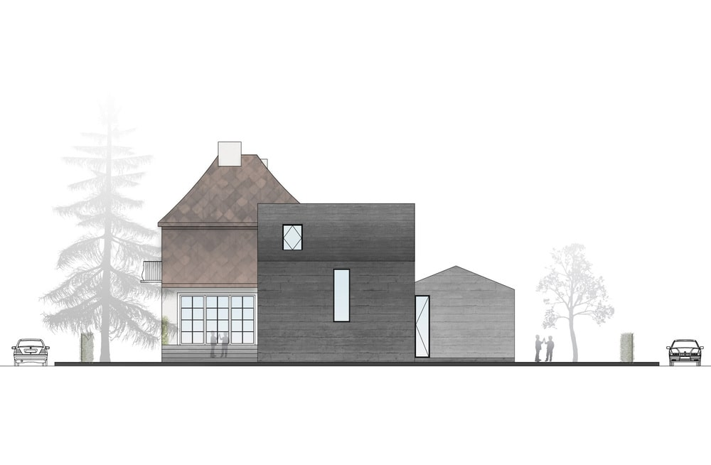 This is an illustration of the house's east elevation.