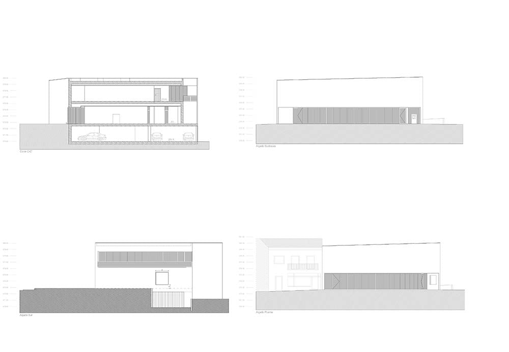 This is an illustration of the various house elevations.