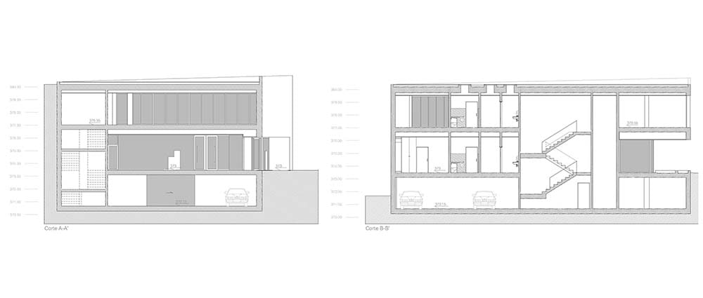 This is an illustration of the house's cross section elevation and sections.