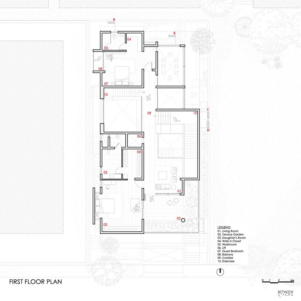 This is the illustration of the house's first level floor plan.