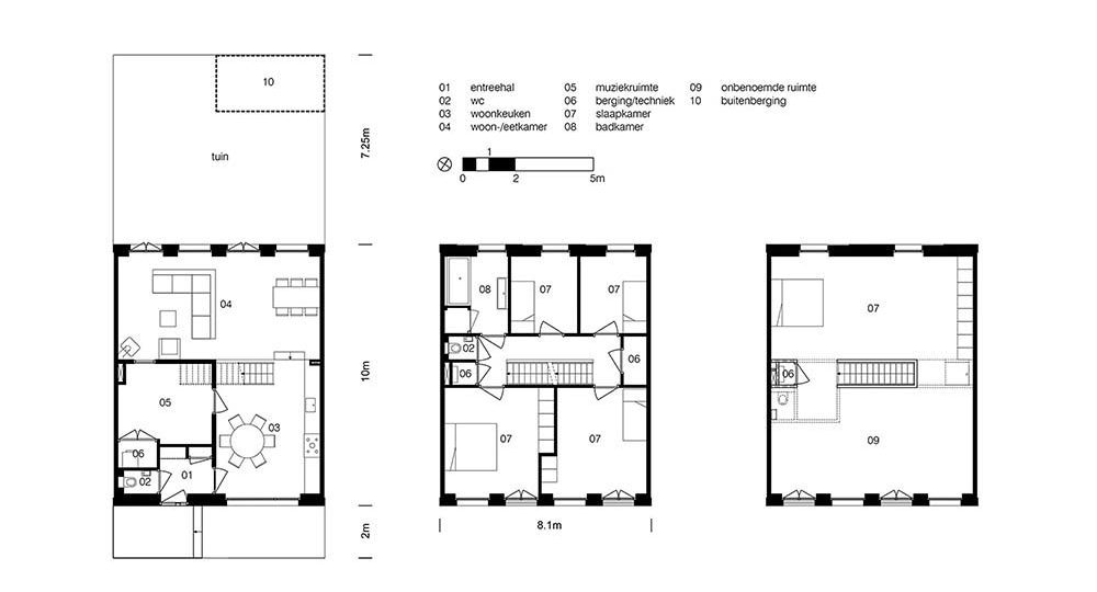 This is an illustration of the house's floor plans for its three levels.