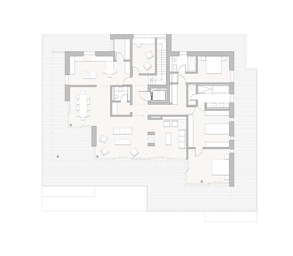 This is an illustration of the house's upper level floor plan.