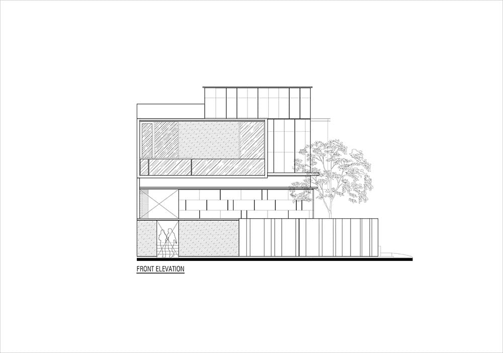 This is the illustration of the house's front elevation.