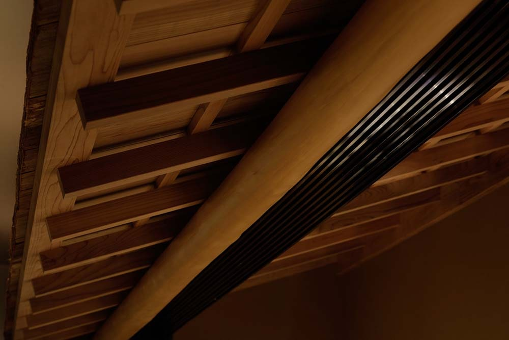 This is a close look at the beamed ceiling of the restaurant.
