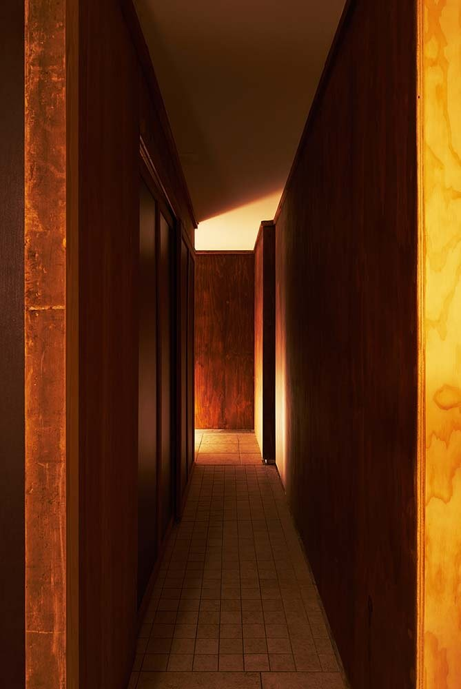 This is a close look at the narrow hallway that leads to the other sections of the house.