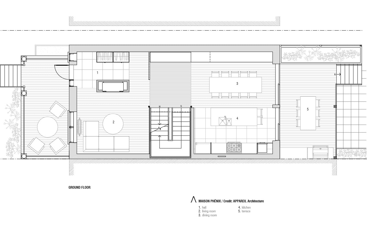 This is the illustration of the house's ground level floor plan.