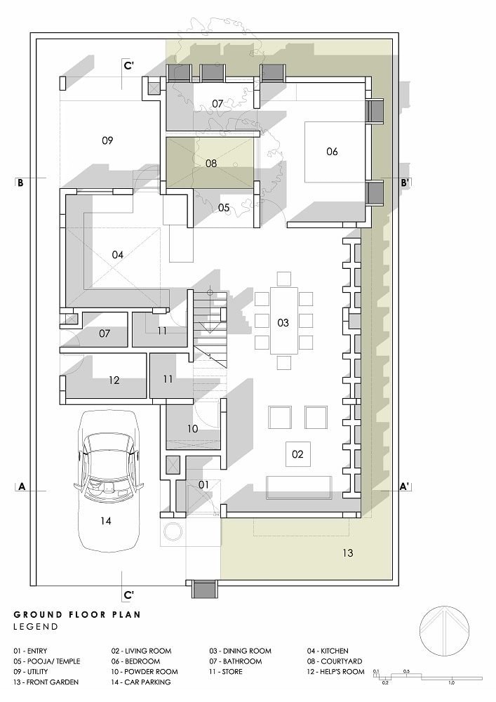 This is an illustration of the ground level floor plan.