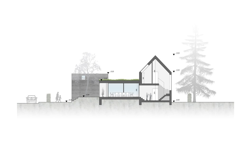 This is an illustration of the cross section of the house showcasing the various areas inside.