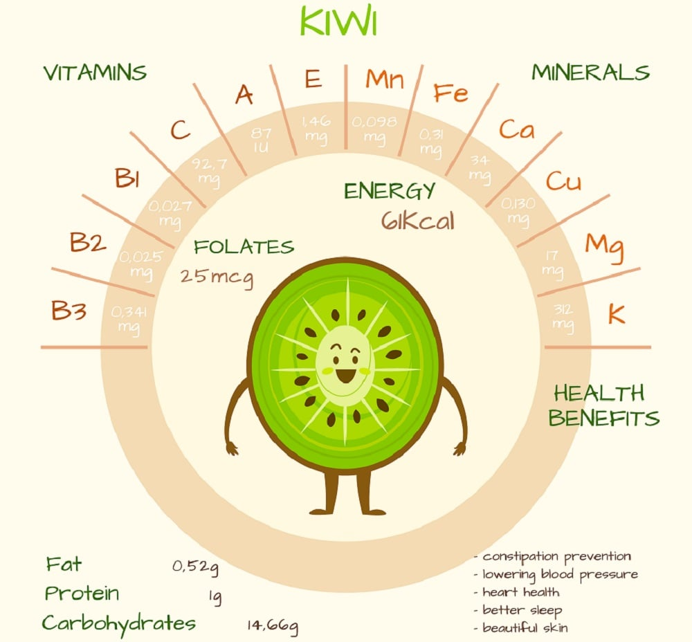 This is an illustration depicting the health benefits of a kiwi.