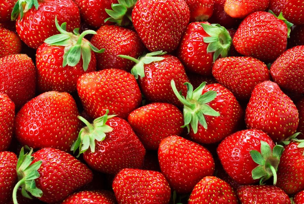 A close look at a bunch of ripe strawberries.