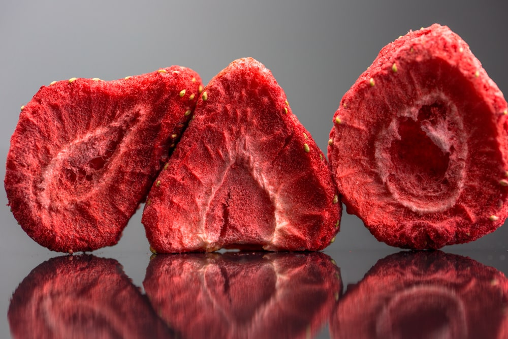 A close look at freeze dried strawberries.