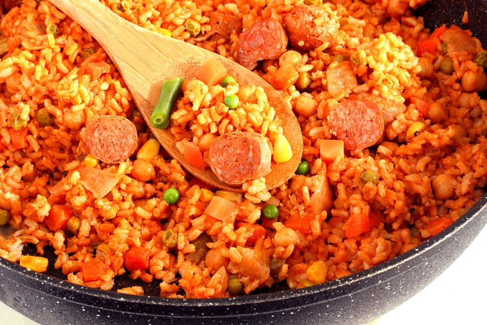 This is a close look at an Italian sausage and rice skillet dinner.