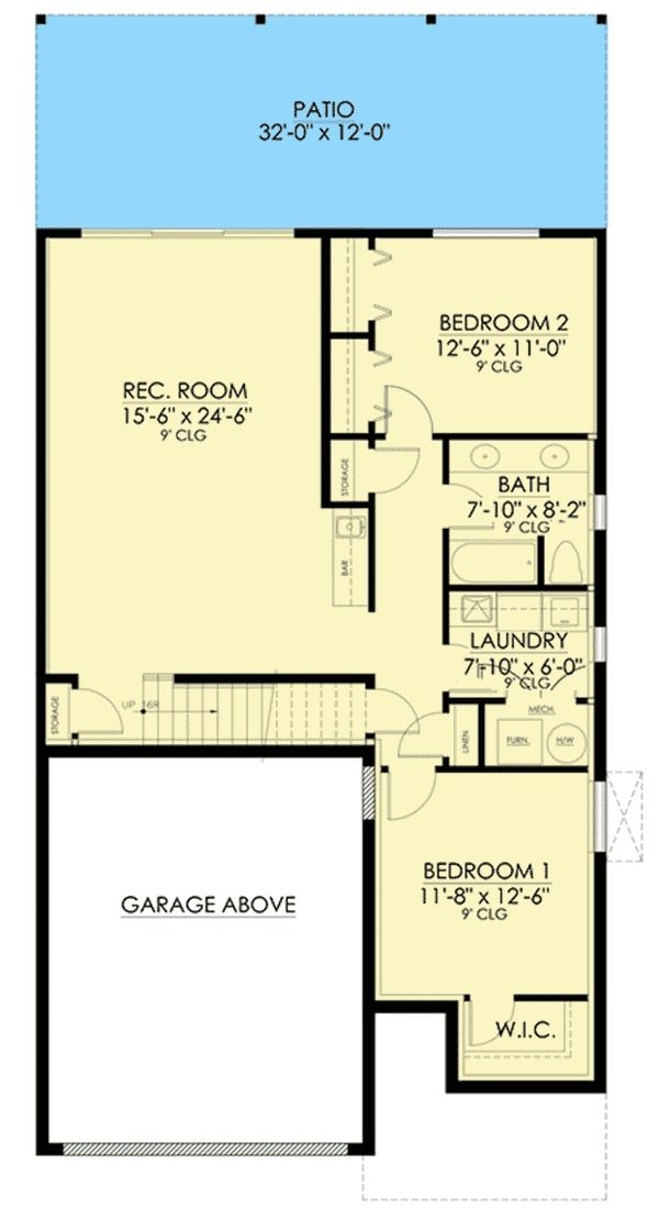 Lower level floor plan with two bedrooms, a full bath, laundry room, and a large recreation room with a wet bar.