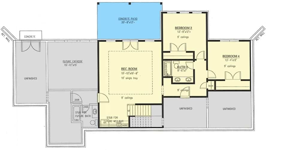 Lower level floor plan with two bedrooms and an enormous recreation room with a wet bar and patio access.