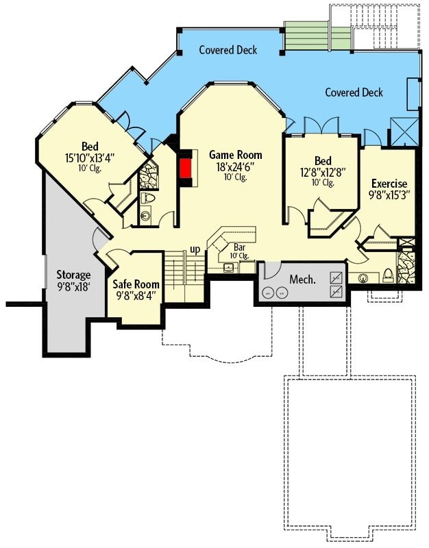 Lower level floor plan with two bedrooms, two baths, exercise room, safe room, and a game room with a wet bar.