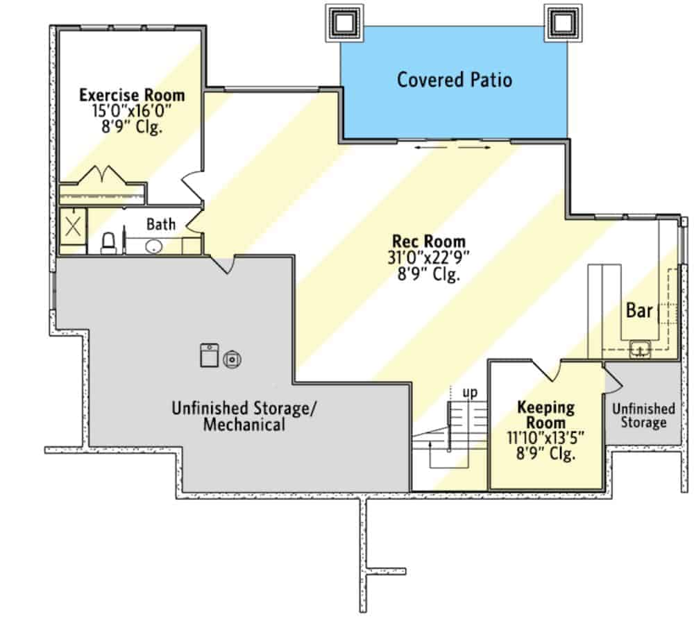 Lower level floor plan with exercise room. the keeping room, and a massive recreation room complete with a wet bar and patio access.