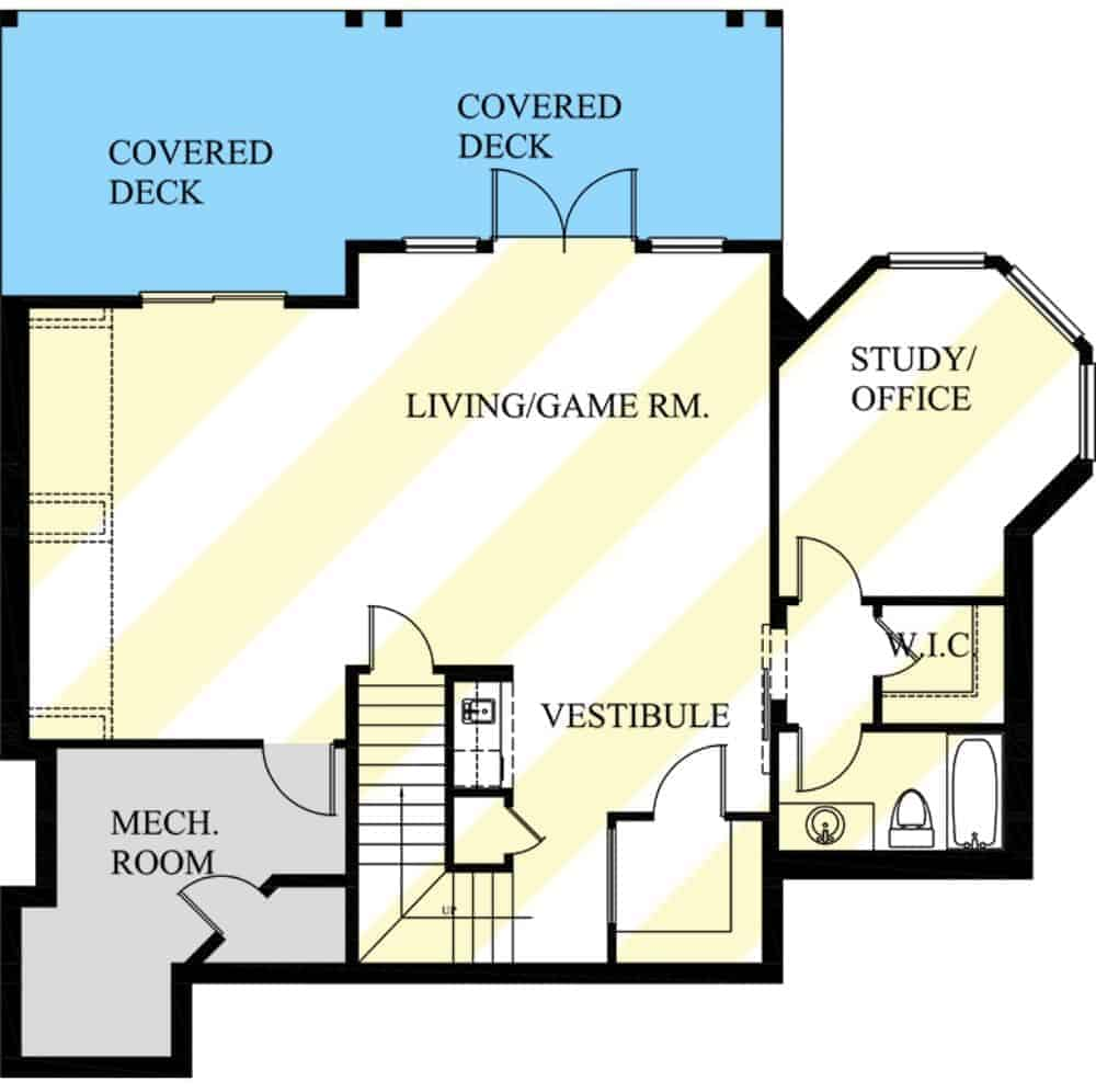 Lower level floor plan with study/office, a full bath, and a living/game room that spans onto a covered deck.