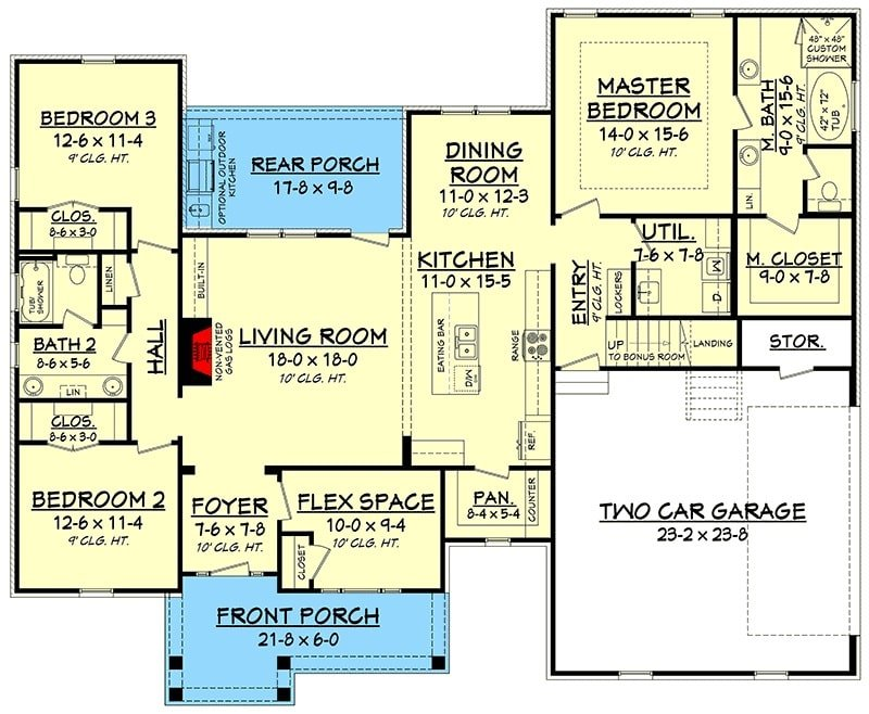 Main level floor plan of a 4-bedroom two-story craftsman home with front and rear porches, foyer, living room, kitchen, dining area, utility room, flex space, and three bedrooms including the primary suite.
