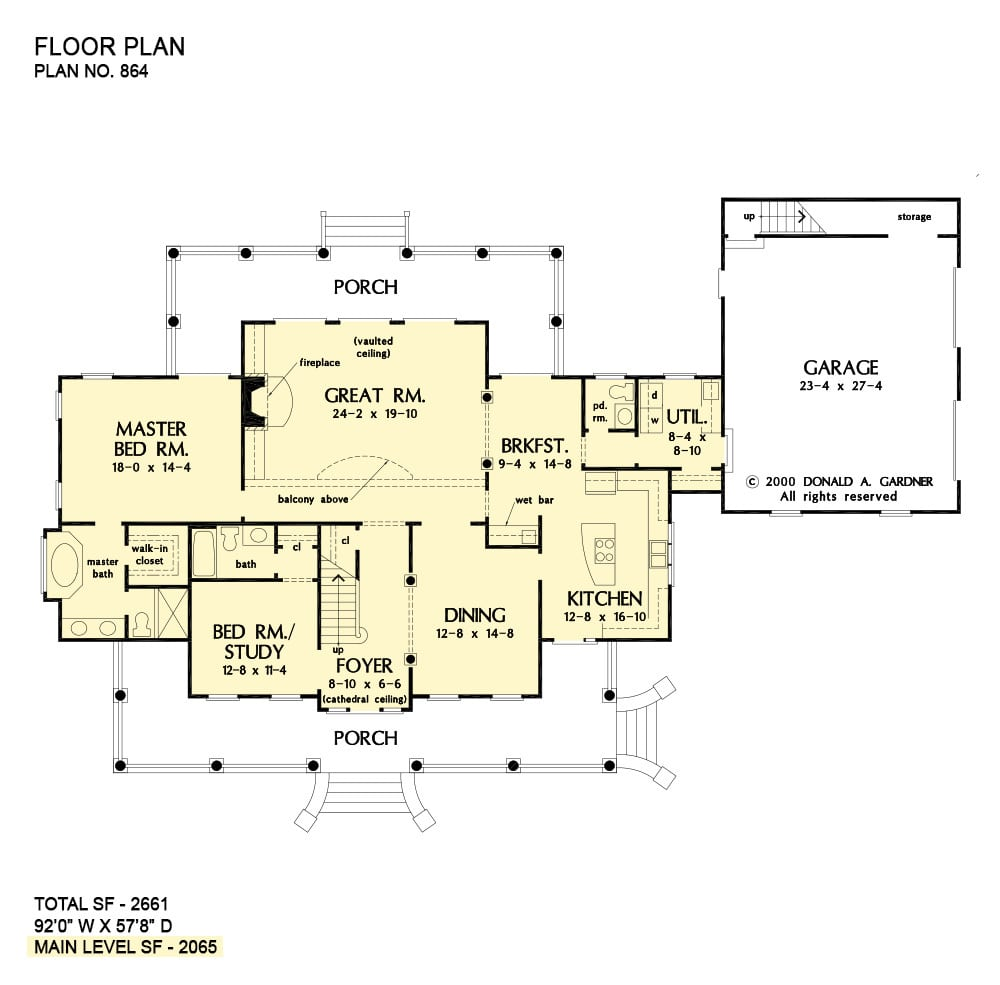 Main level floor plan of a single-story 3-bedroom craftsman style The Marley home with front and rear porches, foyer, great room, formal dining room, kitchen with breakfast nook, utility room, and two bedrooms including the primary suite.
