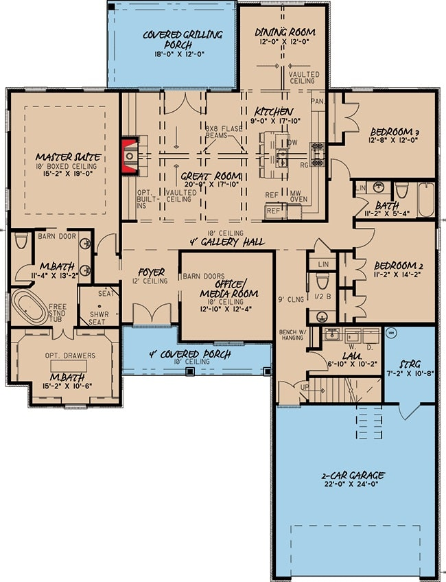 Main level floor plan of a 4-bedroom two-story traditional brick home with front and rear porches, foyer, great room, kitchen, dining area, office/media room, and three bedrooms including the primary suite.