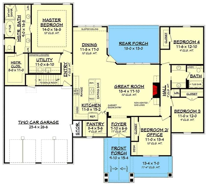 Main level floor plan of a 5-bedroom two-story country farmhouse with front and rear porches, foyer, great room, kitchen, dining area, utility room, and four bedrooms including the primary suite and the flexible office.