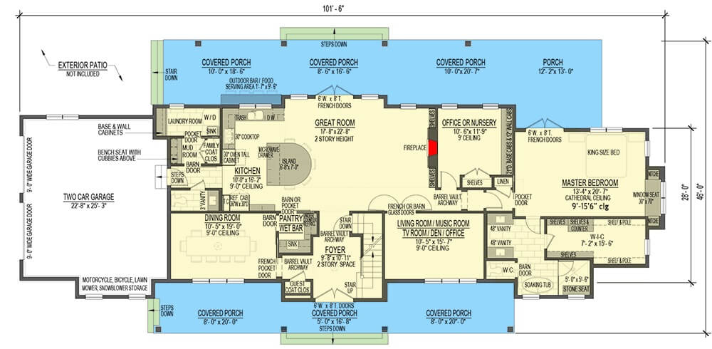 Main level floor plan of a 5-bedroom two-story modern country farmhouse with front and rear porches, foyer, great room, formal dining room, kitchen, living room, office, primary suite, and a mudroom that leads to the double garage.