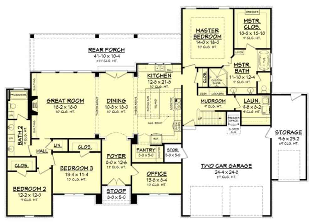 Main level floor plan of a single-story 3-bedroom country home with front and rear porches, foyer, great room, dining room, kitchen, office, laundry room, and a mudroom leading to the double garage.