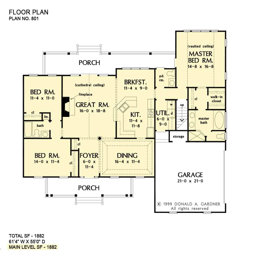 Main level floor plan of a single-story 3-bedroom The Cartwright cottage with front and rear porches, foyer, great room, kitchen with breakfast nook, formal dining room, and utility room leading to the side-loading garage.