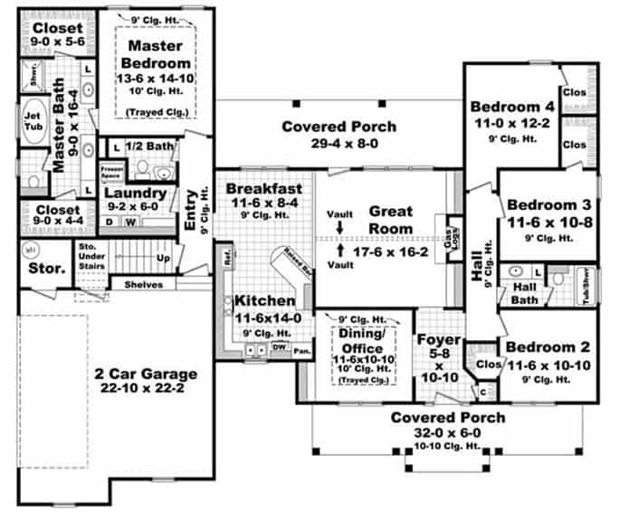 Main level floor plan of a single-story 4-bedroom Acadian style home with front and rear porches, foyer, great room, formal dining room, kitchen with breakfast nook, laundry room, and a double garage.