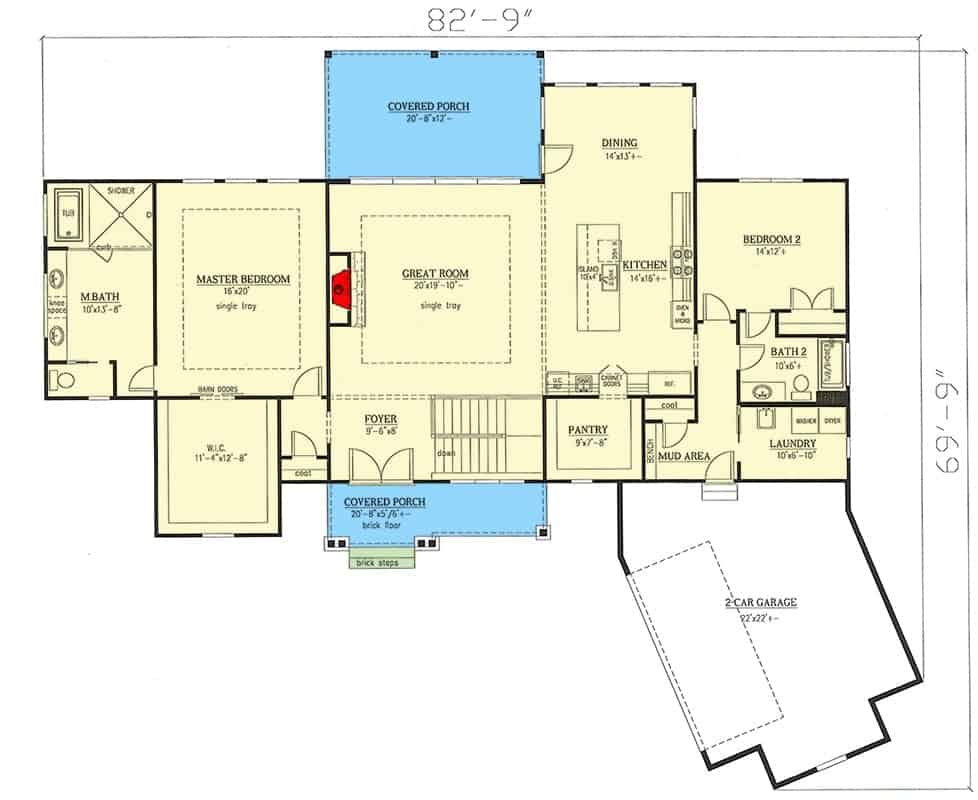 Main level floor plan of a single-story 4-bedroom country craftsman home with front and rear porches, foyer, great room, kitchen, dining area, two bedrooms including the primary suite, laundry room, and mud area leading to the angled garage.