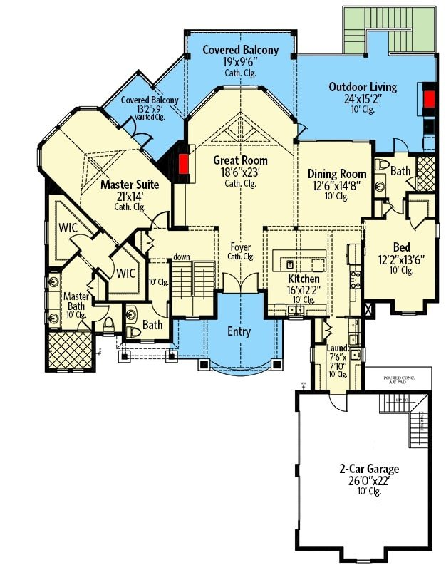 Main level floor plan of a single-story 4-bedroom craftsman home with foyer, great room, kitchen, dining room, laundry, two bedrooms including the primary suite, and lots of outdoor spaces.