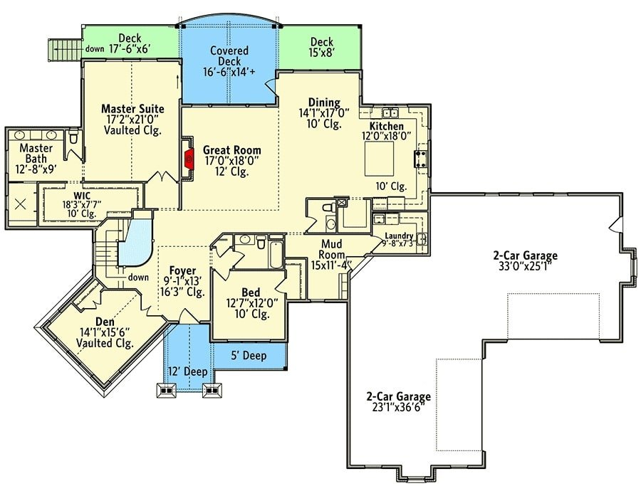 Main level floor plan of a single-story 5-bedroom New American mountain ranch with front porch and rear porches, foyer, great room, dining area, kitchen, angled den, two bedrooms, laundry room, and a mudroom leading to the 4-car garage.