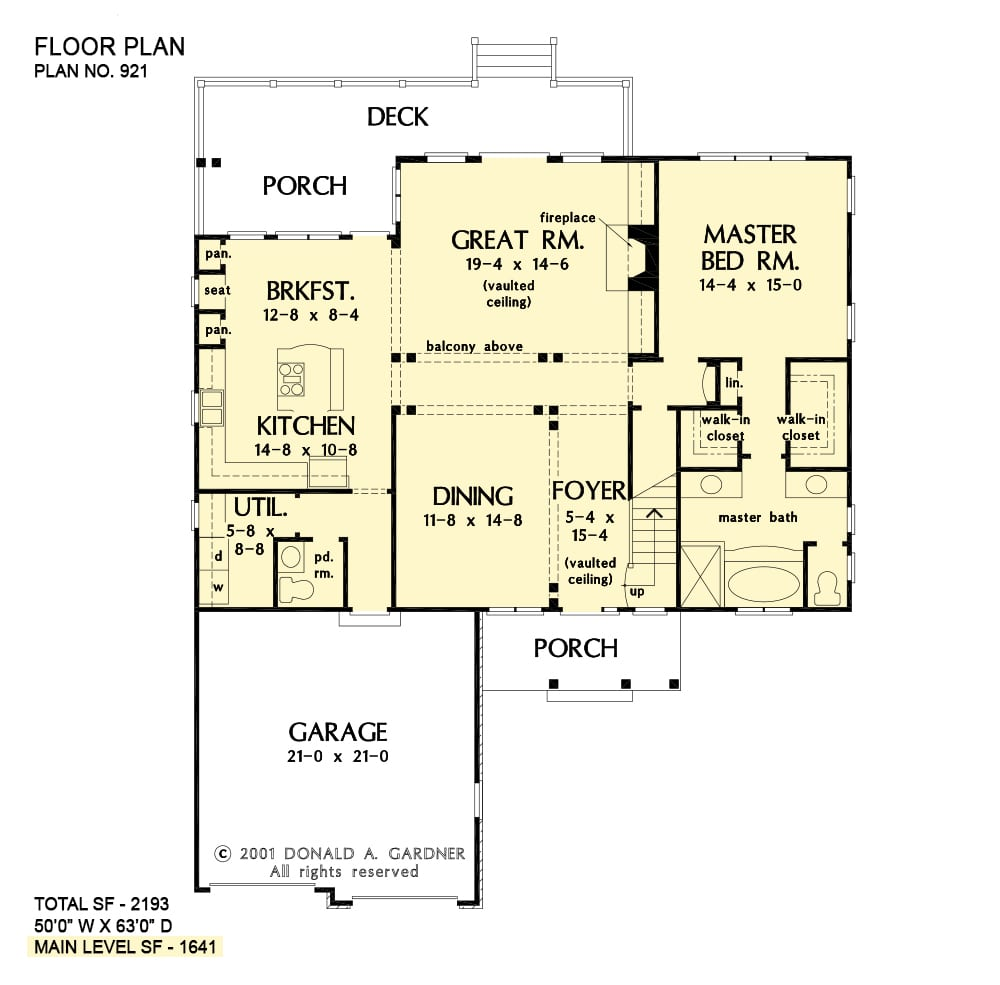 Main level floor plan of a single-story 3-bedroom Acadian home with front and rear porches, foyer, great room, formal dining room, kitchen with breakfast nook, primary suite, and a double garage.