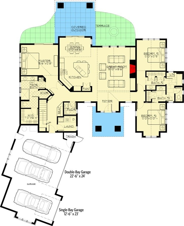 Main level floor plan of a two-story 4-bedroom mountain ranch home with foyer, great room, kitchen, dining area, laundry room, and three bedrooms including the primary suite.
