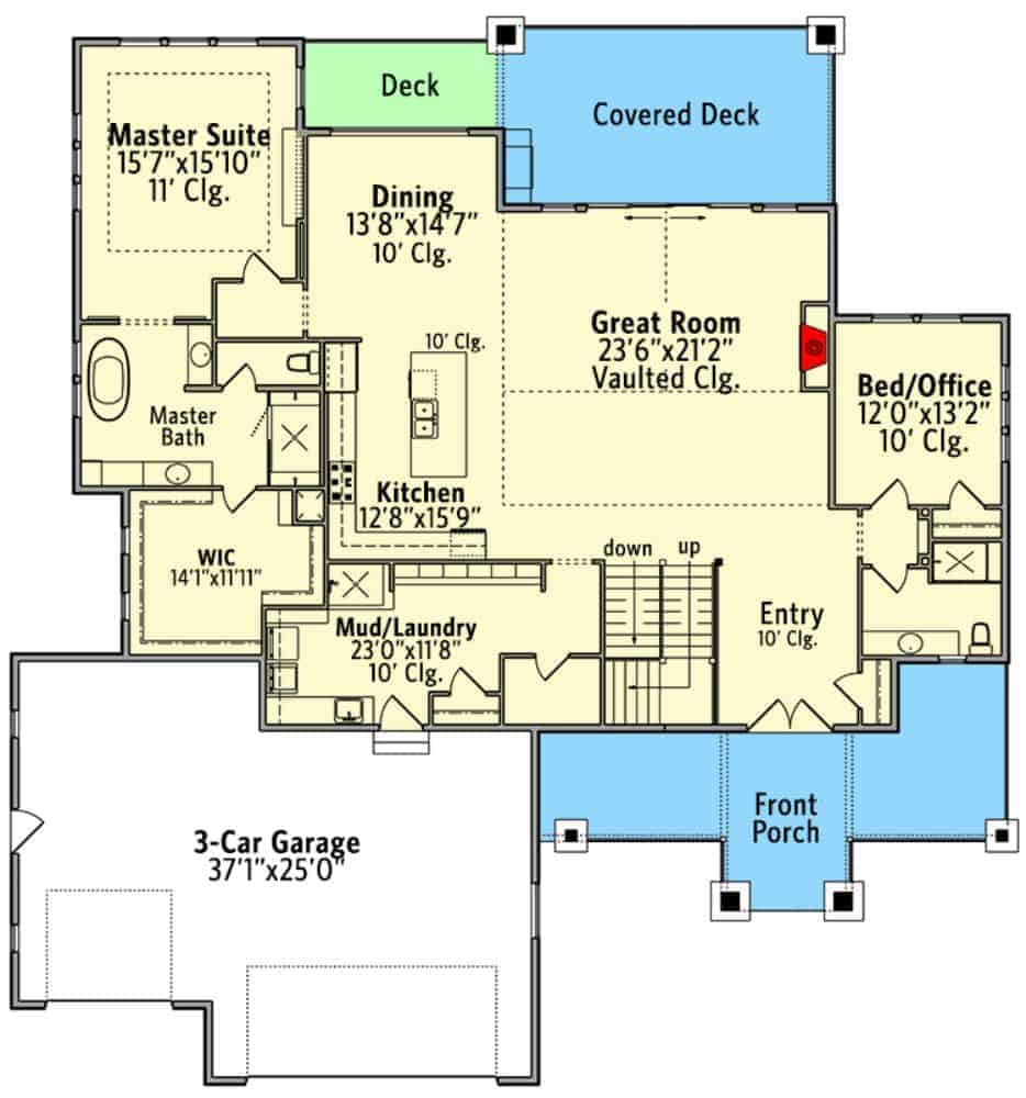 Main level floor plan of a two-story 4-bedroom New American mountain home with front and rear porches, foyer, great room, kitchen, dining area, primary suite, a bedroom/office, and a combined mudroom and laundry room leading to the triple garage.