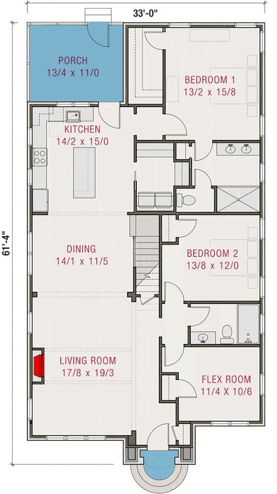 Main level floor plan of a two-story 5-bedroom modern Tudor home with living room, flex room, two bedrooms, dining area, and kitchen that expands to the rear porch.